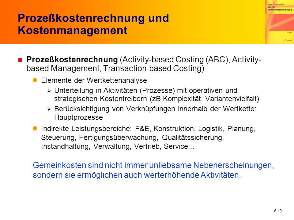 Prozeßkostenrechnung und Kostenmanagement
