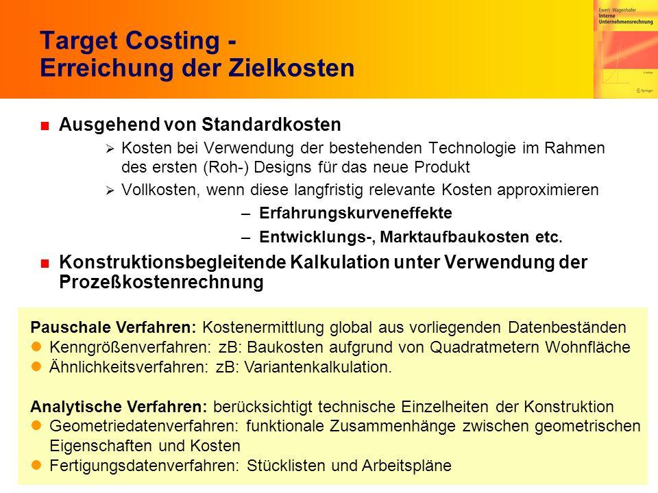 Target Costing - Erreichung der Zielkosten