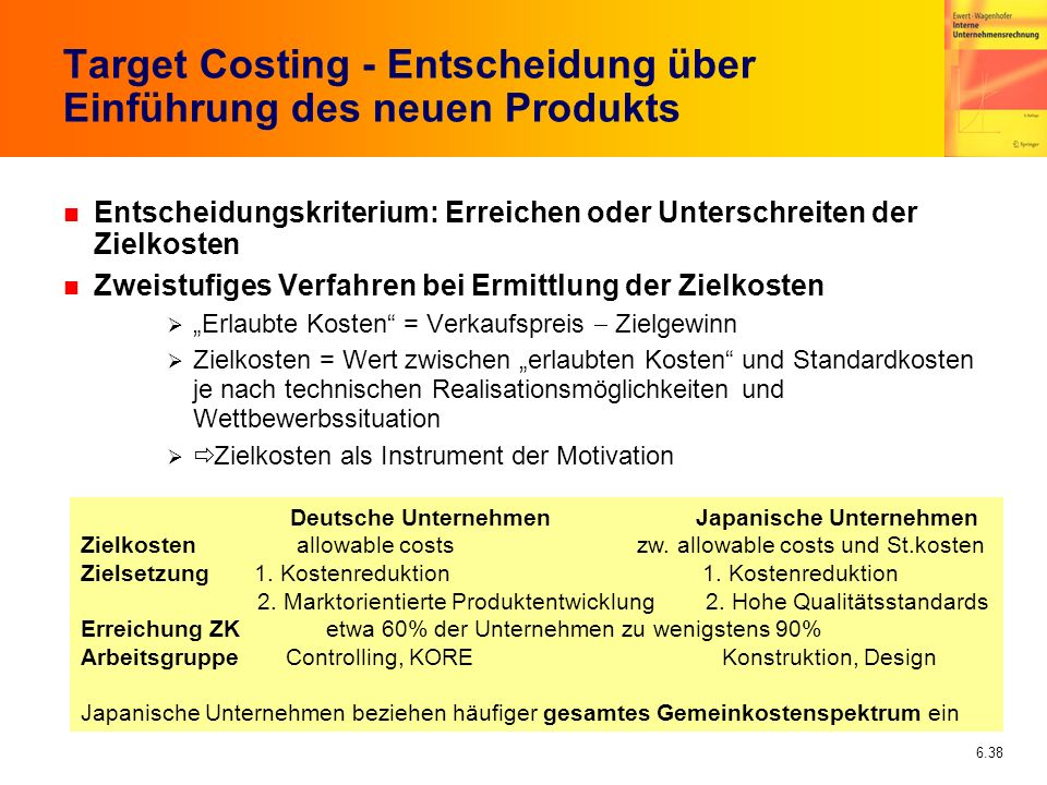 Target Costing - Entscheidung über Einführung des neuen Produkts