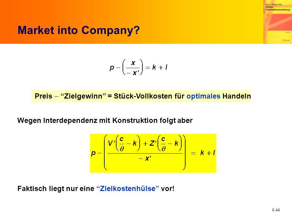 Market into Company Preis - Zielgewinn = Stück-Vollkosten für optimales Handeln. Wegen Interdependenz mit Konstruktion folgt aber.