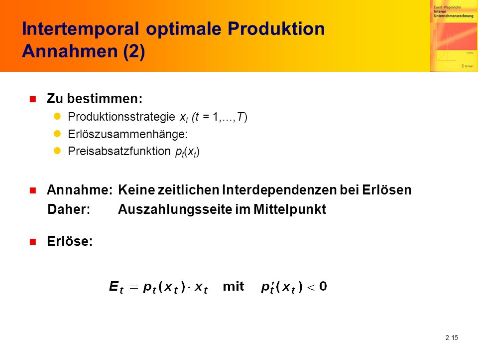 Intertemporal optimale Produktion Annahmen (2)