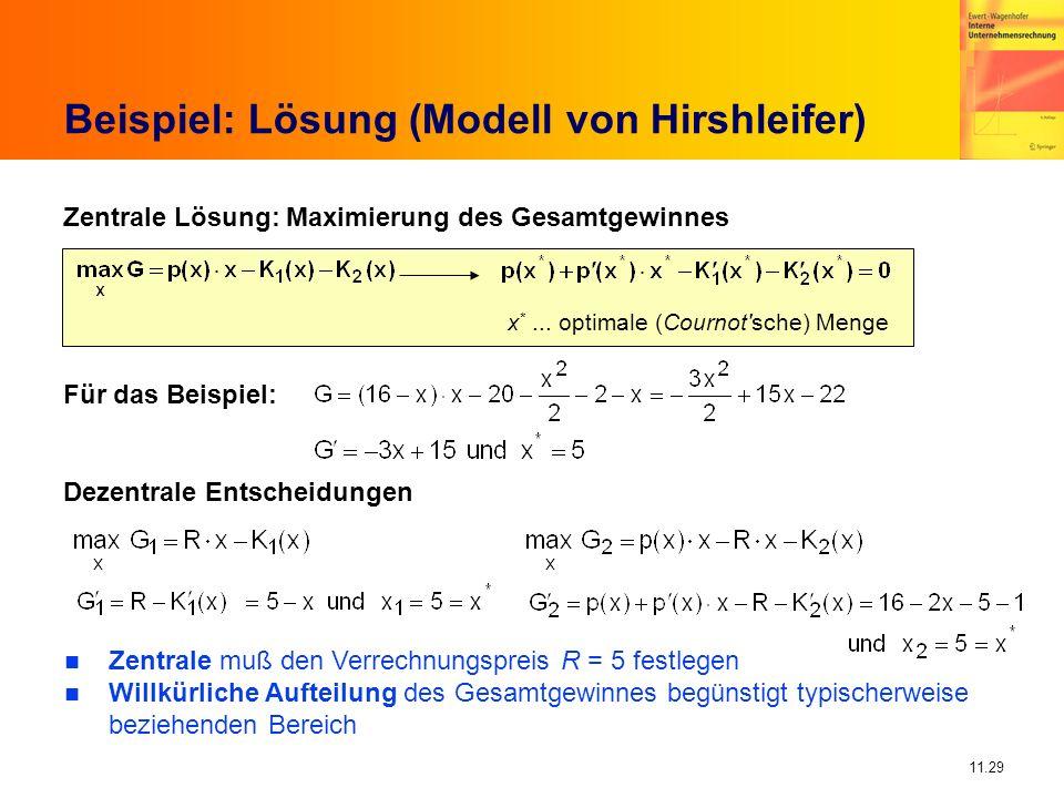 Beispiel: Lösung (Modell von Hirshleifer)