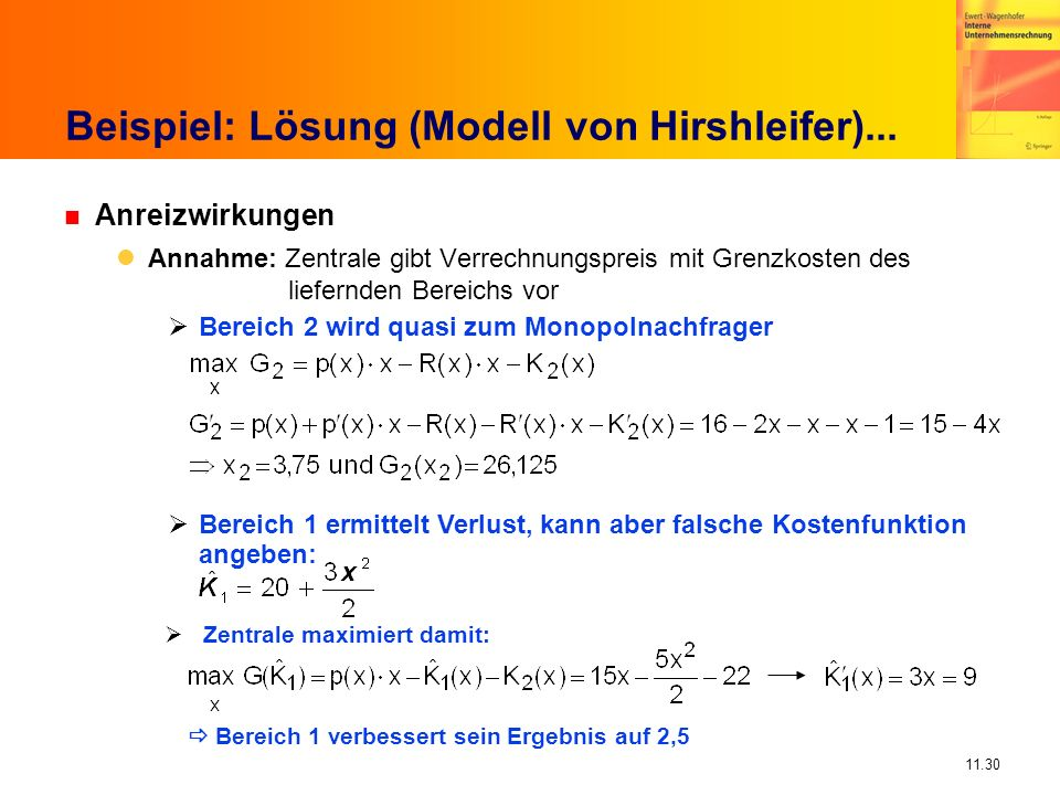 Beispiel: Lösung (Modell von Hirshleifer)...