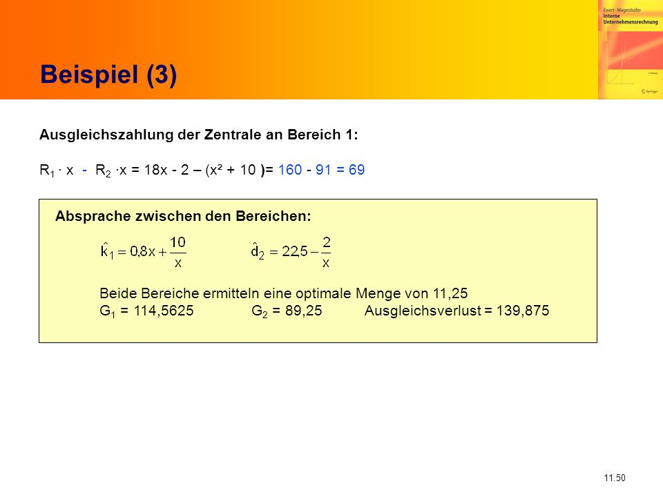 Beispiel (3) Ausgleichszahlung der Zentrale an Bereich 1:
