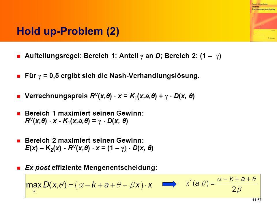 Hold up-Problem (2) Aufteilungsregel: Bereich 1: Anteil γ an D; Bereich 2: (1 – γ) Für γ = 0,5 ergibt sich die Nash-Verhandlungslösung.