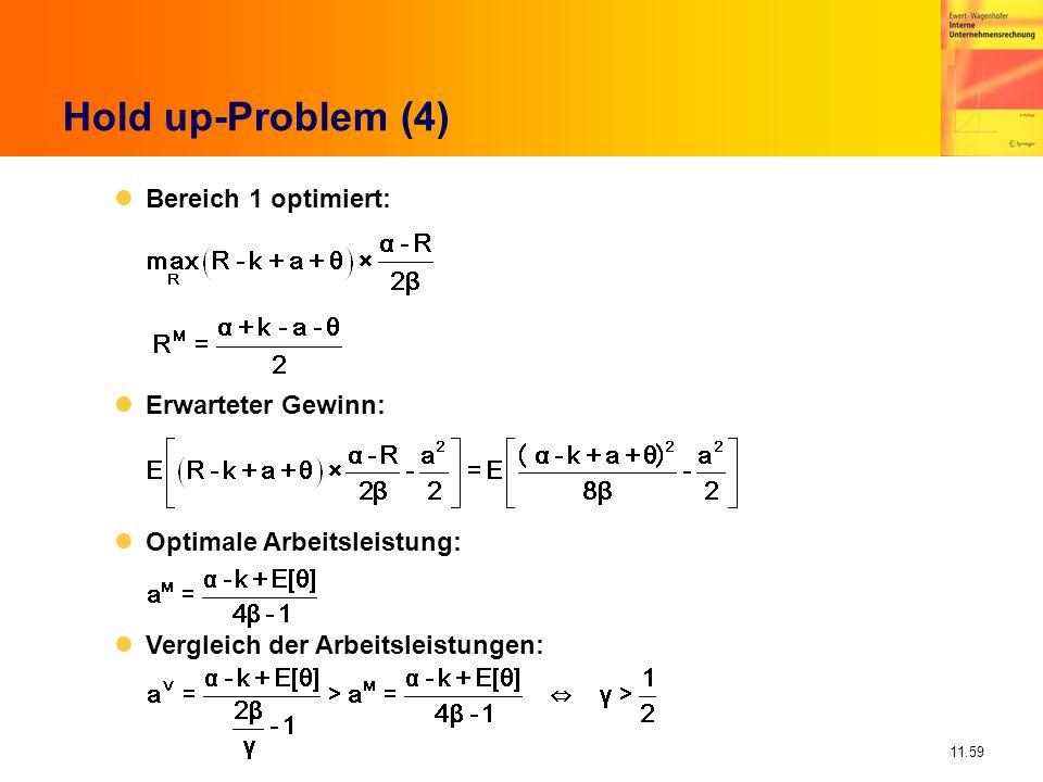 Hold up-Problem (4) Bereich 1 optimiert: Erwarteter Gewinn: