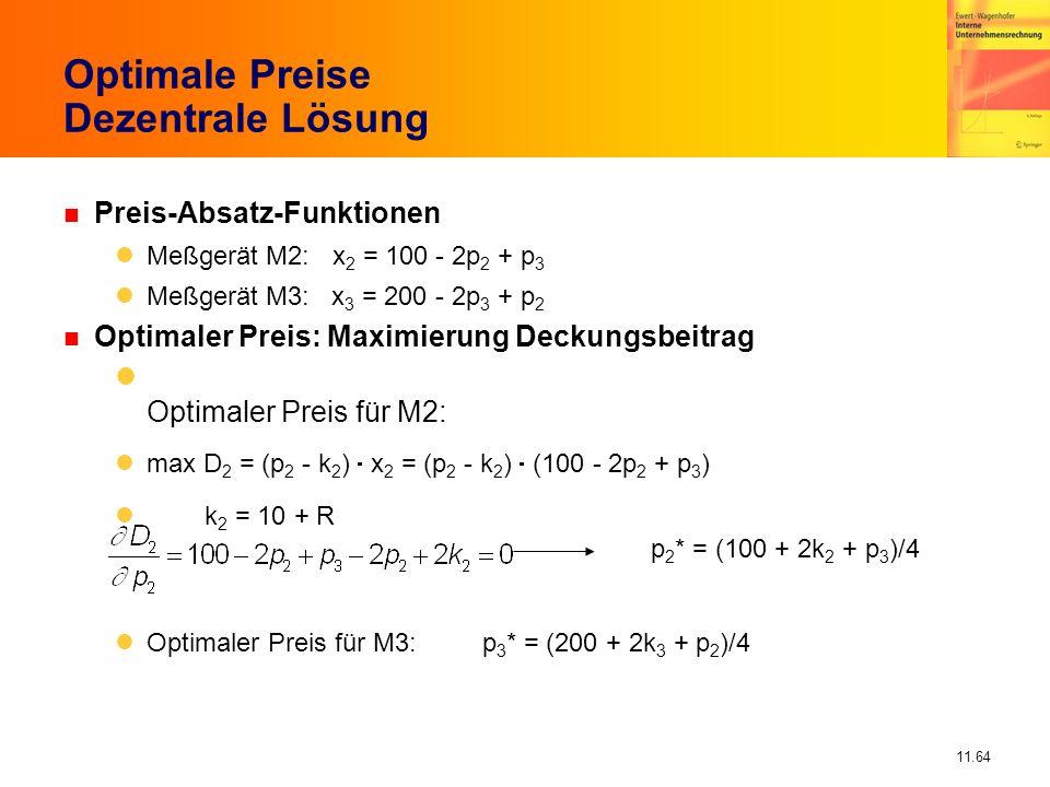 Optimale Preise Dezentrale Lösung