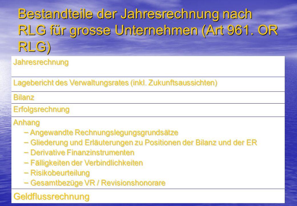 Bestandteile der Jahresrechnung nach RLG für grosse Unternehmen (Art 961. OR RLG)
