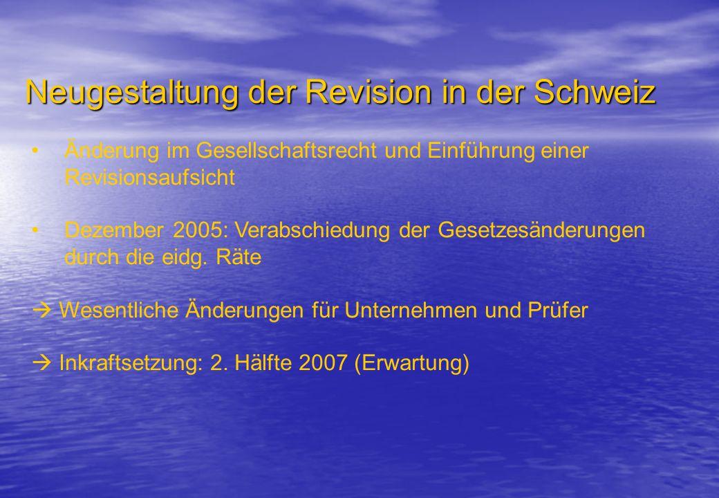Neugestaltung der Revision in der Schweiz