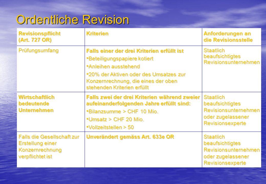 Ordentliche Revision Revisionspflicht (Art. 727 OR) Kriterien