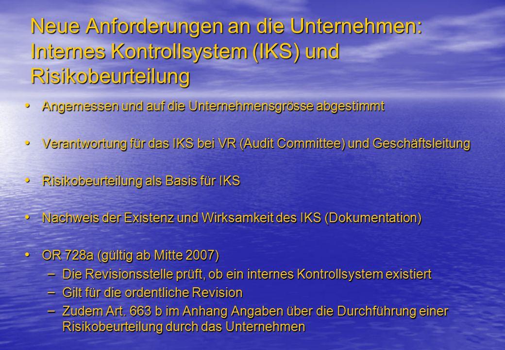 Neue Anforderungen an die Unternehmen: Internes Kontrollsystem (IKS) und Risikobeurteilung