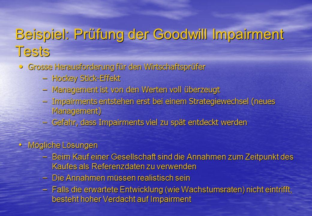 Beispiel: Prüfung der Goodwill Impairment Tests