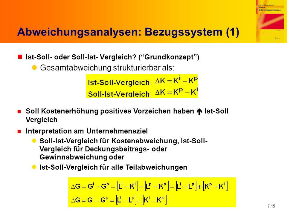 Abweichungsanalysen: Bezugssystem (1)