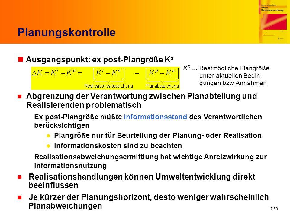 Planungskontrolle Ausgangspunkt: ex post-Plangröße Ks