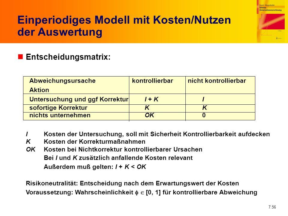 Einperiodiges Modell mit Kosten/Nutzen der Auswertung