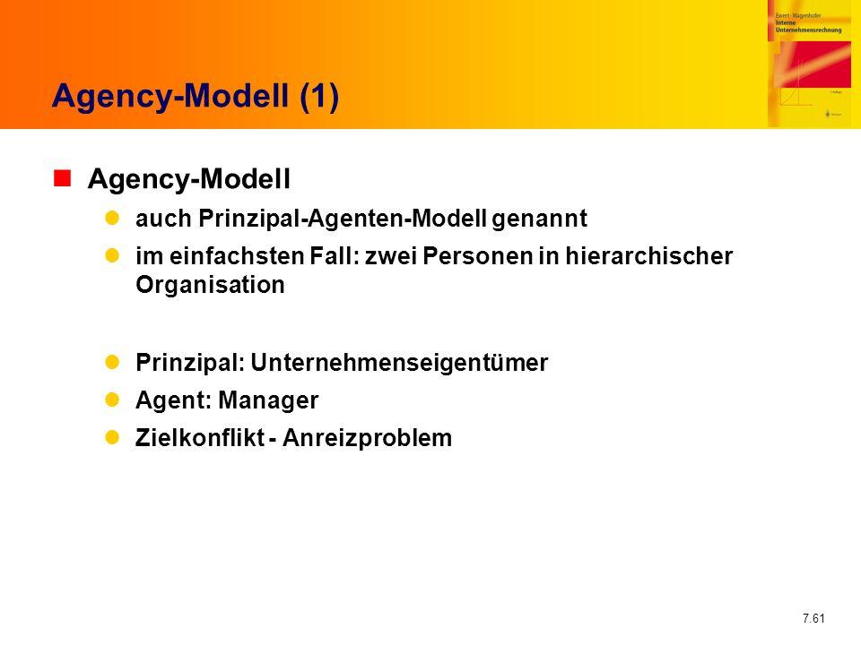 Agency-Modell (1) Agency-Modell auch Prinzipal-Agenten-Modell genannt