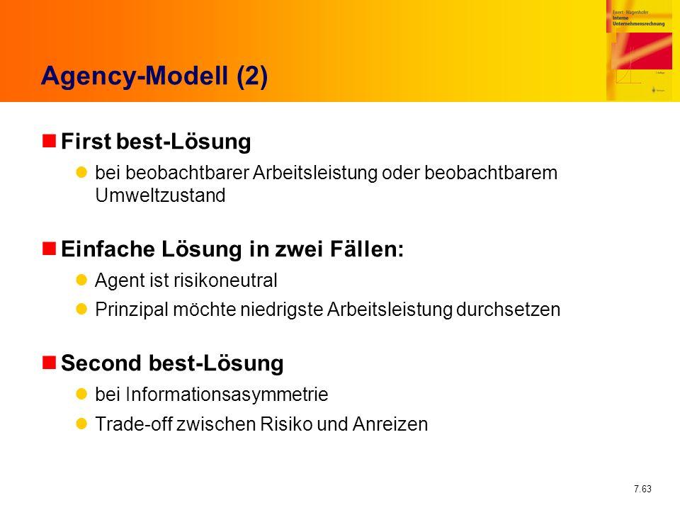 Agency-Modell (2) First best-Lösung Einfache Lösung in zwei Fällen: