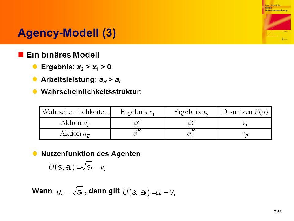 Agency-Modell (3) Ein binäres Modell Ergebnis: x2 > x1 > 0