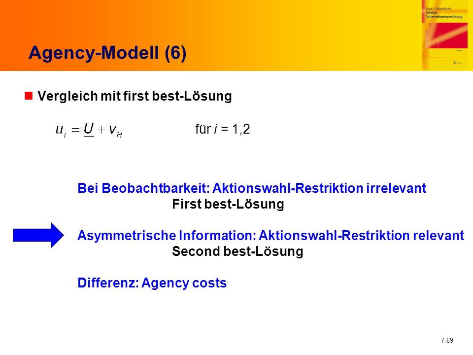 Agency-Modell (6) Vergleich mit first best-Lösung für i = 1,2