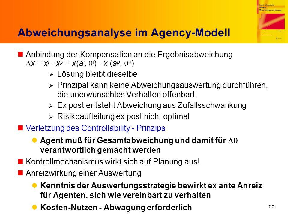 Abweichungsanalyse im Agency-Modell