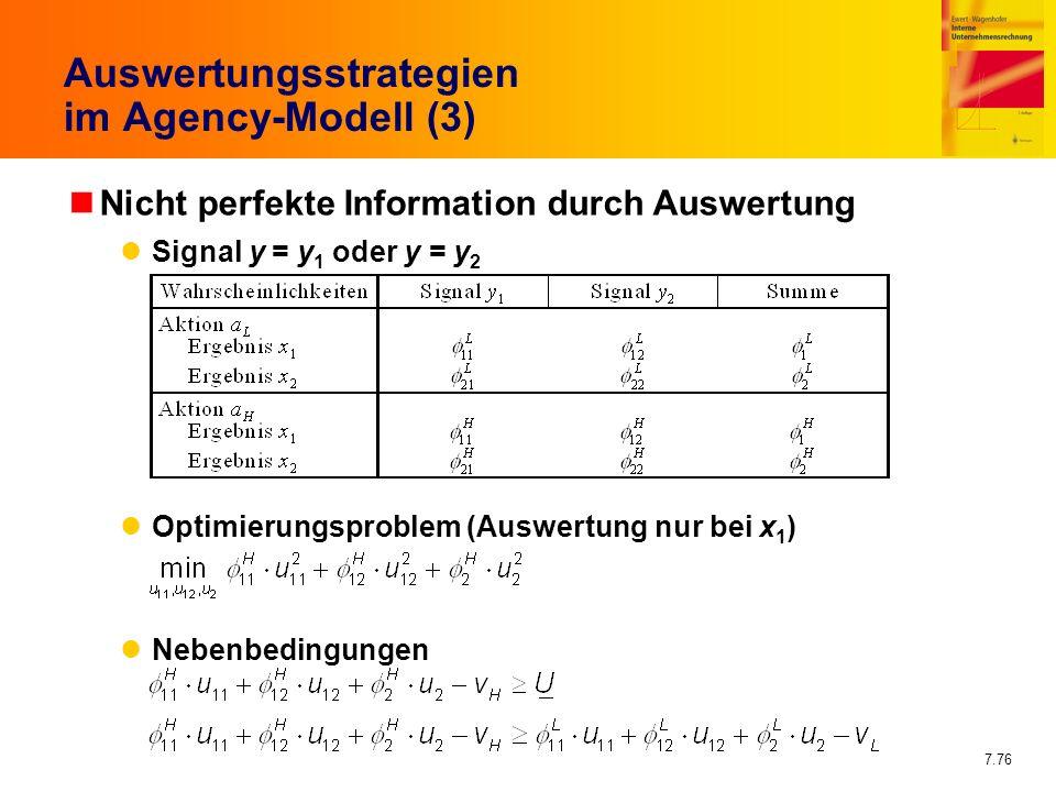 Auswertungsstrategien im Agency-Modell (3)