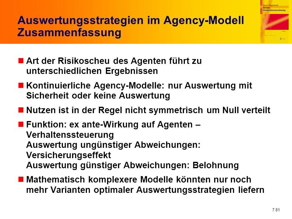 Auswertungsstrategien im Agency-Modell Zusammenfassung