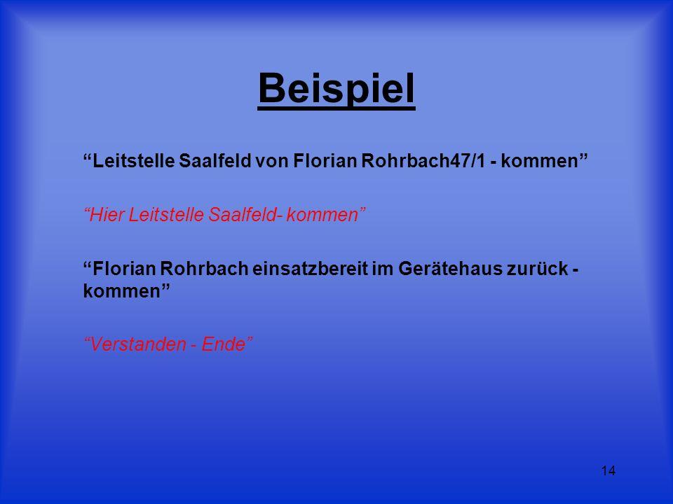 Beispiel Leitstelle Saalfeld von Florian Rohrbach47/1 - kommen