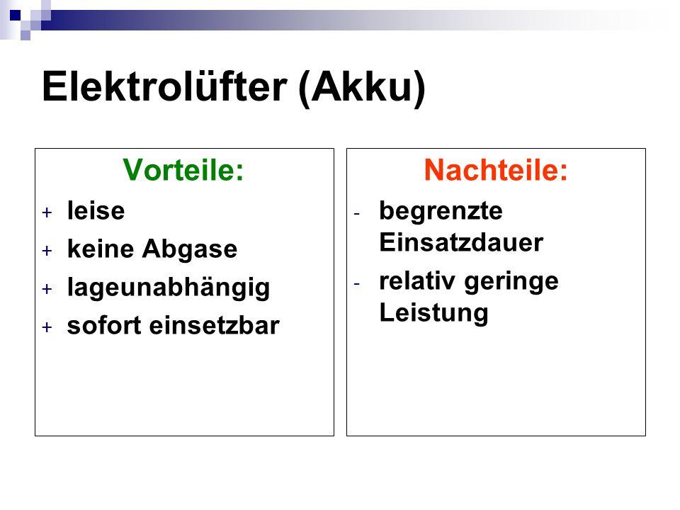 Elektrolüfter (Akku) Vorteile: Nachteile: leise keine Abgase