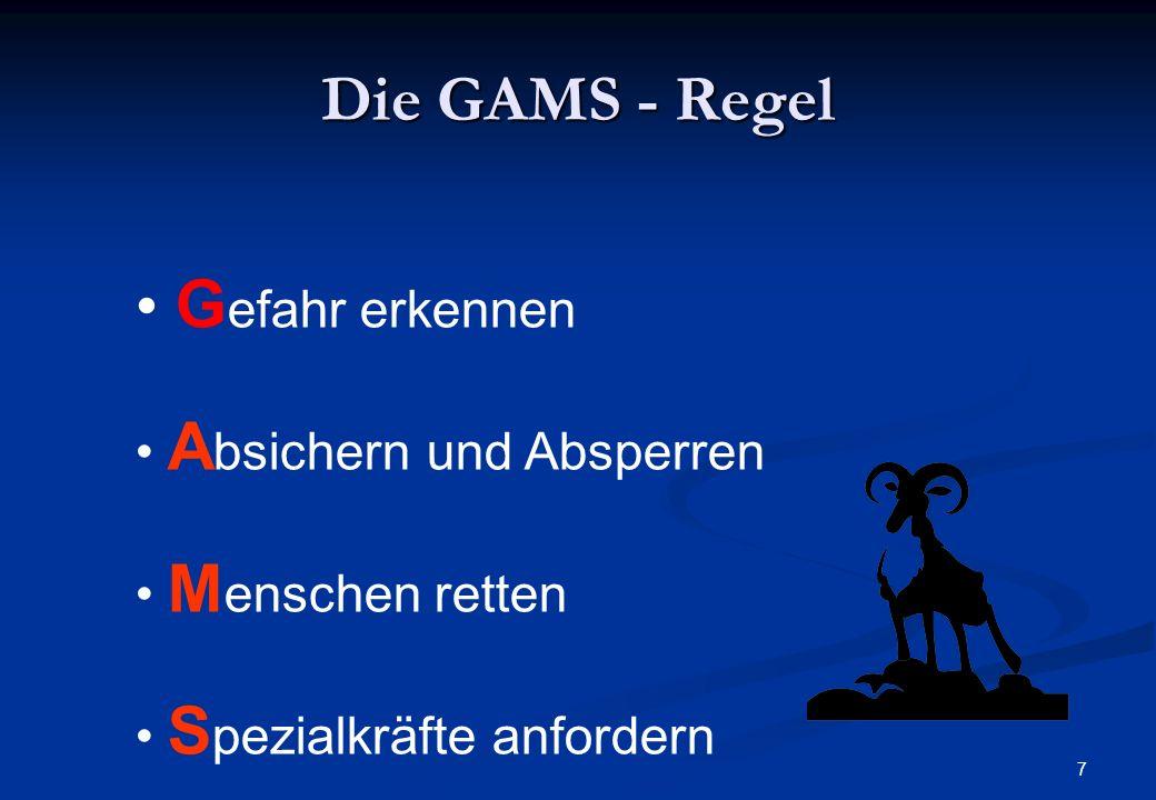 Die GAMS - Regel Gefahr erkennen Absichern und Absperren