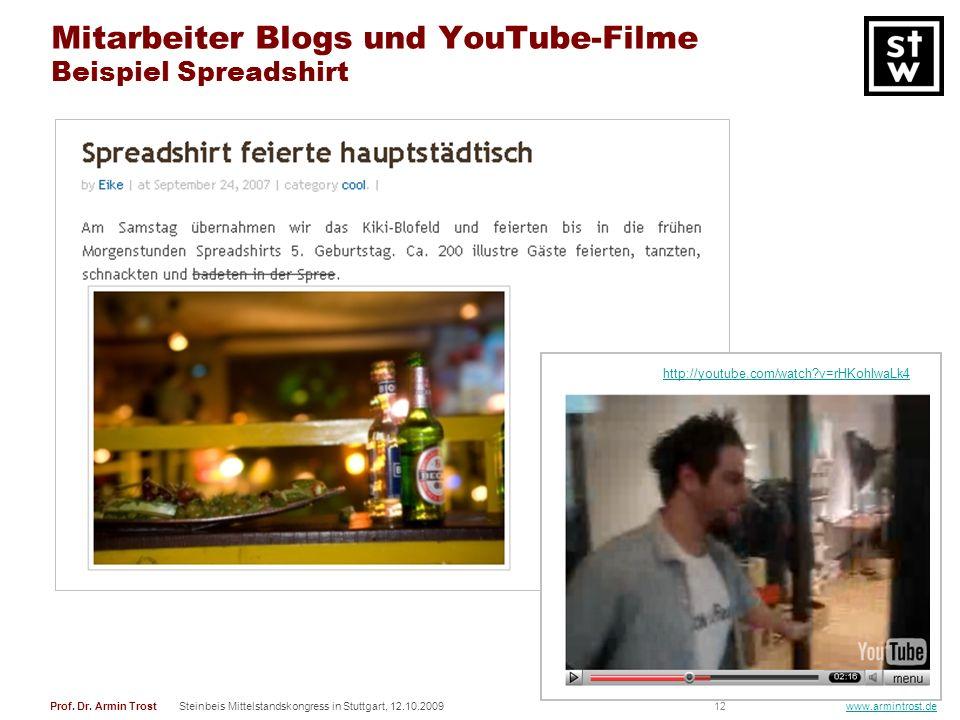 Mitarbeiter Blogs und YouTube-Filme Beispiel Spreadshirt