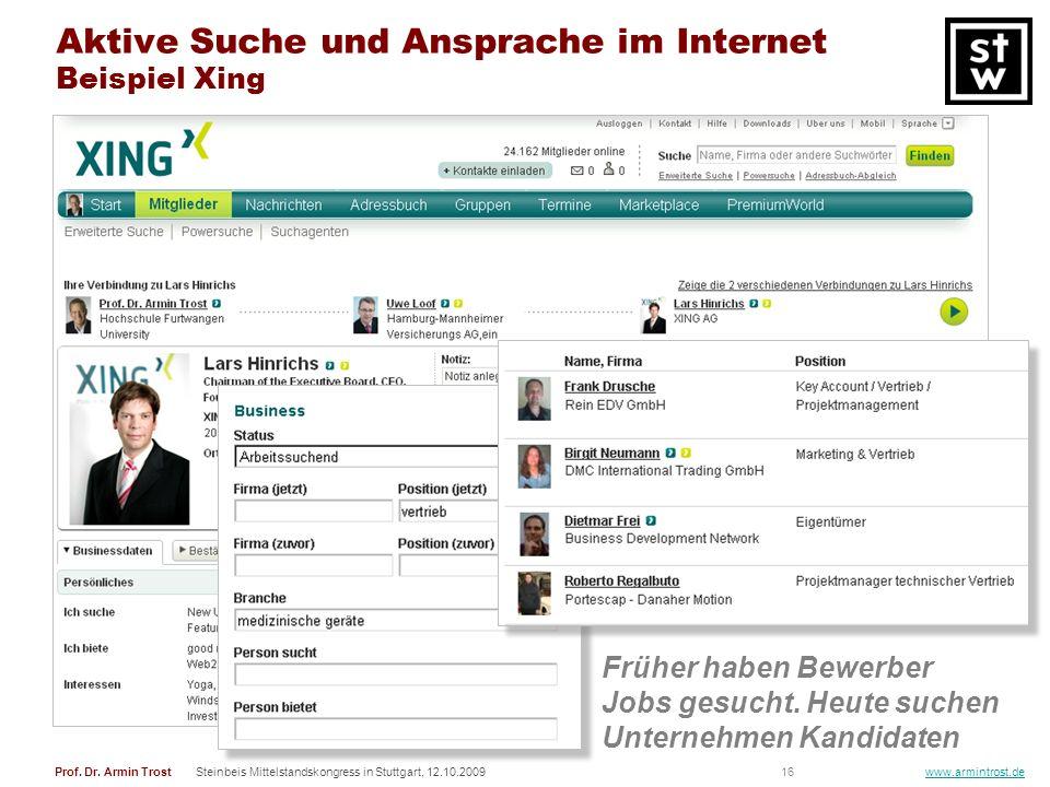 Aktive Suche und Ansprache im Internet Beispiel Xing