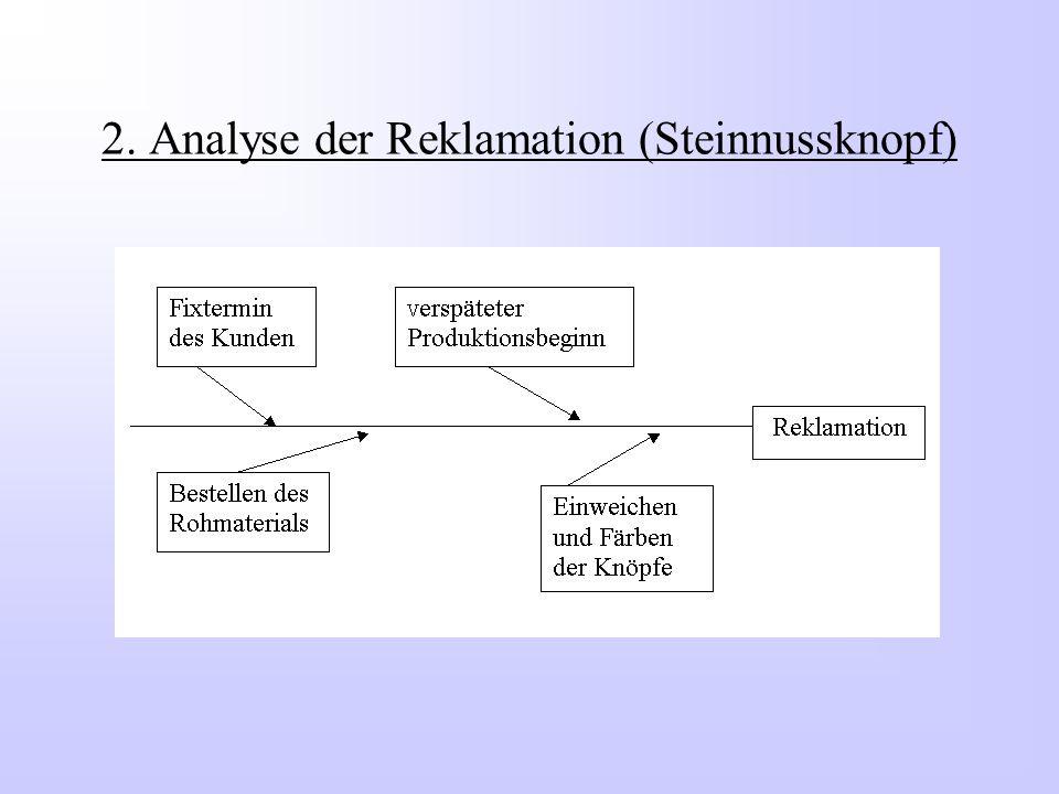 2. Analyse der Reklamation (Steinnussknopf)
