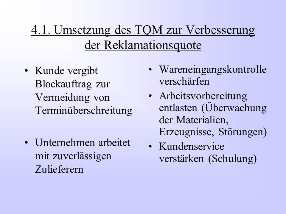 4.1. Umsetzung des TQM zur Verbesserung der Reklamationsquote