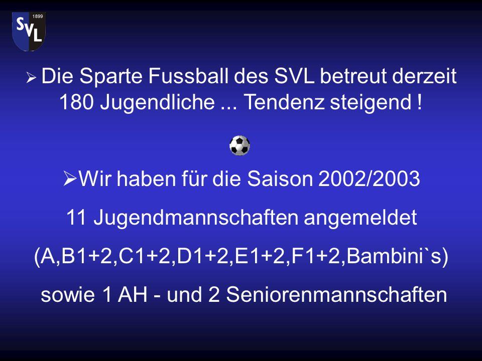Wir haben für die Saison 2002/2003 11 Jugendmannschaften angemeldet