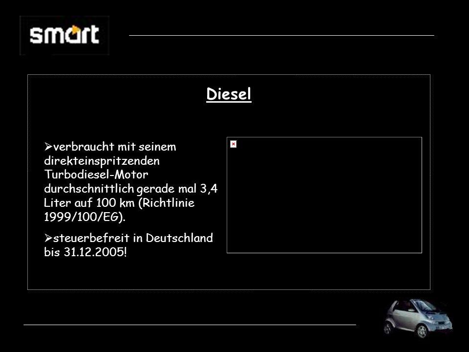 Diesel verbraucht mit seinem direkteinspritzenden Turbodiesel-Motor durchschnittlich gerade mal 3,4 Liter auf 100 km (Richtlinie 1999/100/EG).