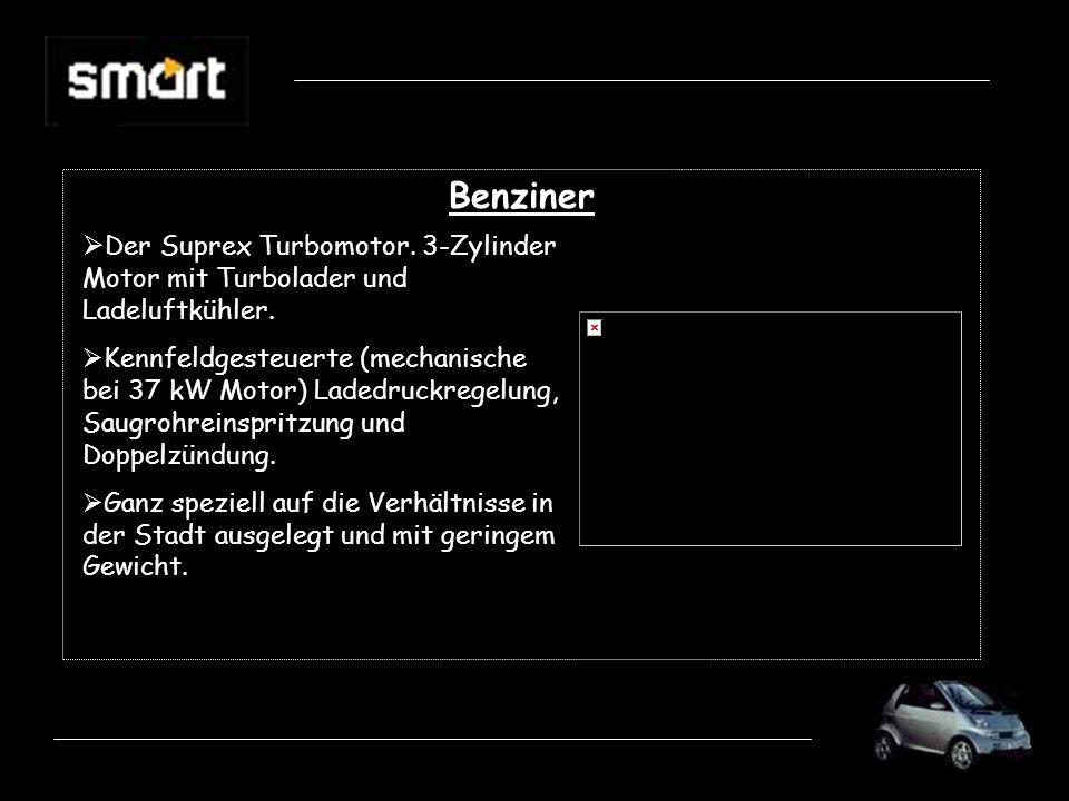 BenzinerDer Suprex Turbomotor. 3-Zylinder Motor mit Turbolader und Ladeluftkühler.