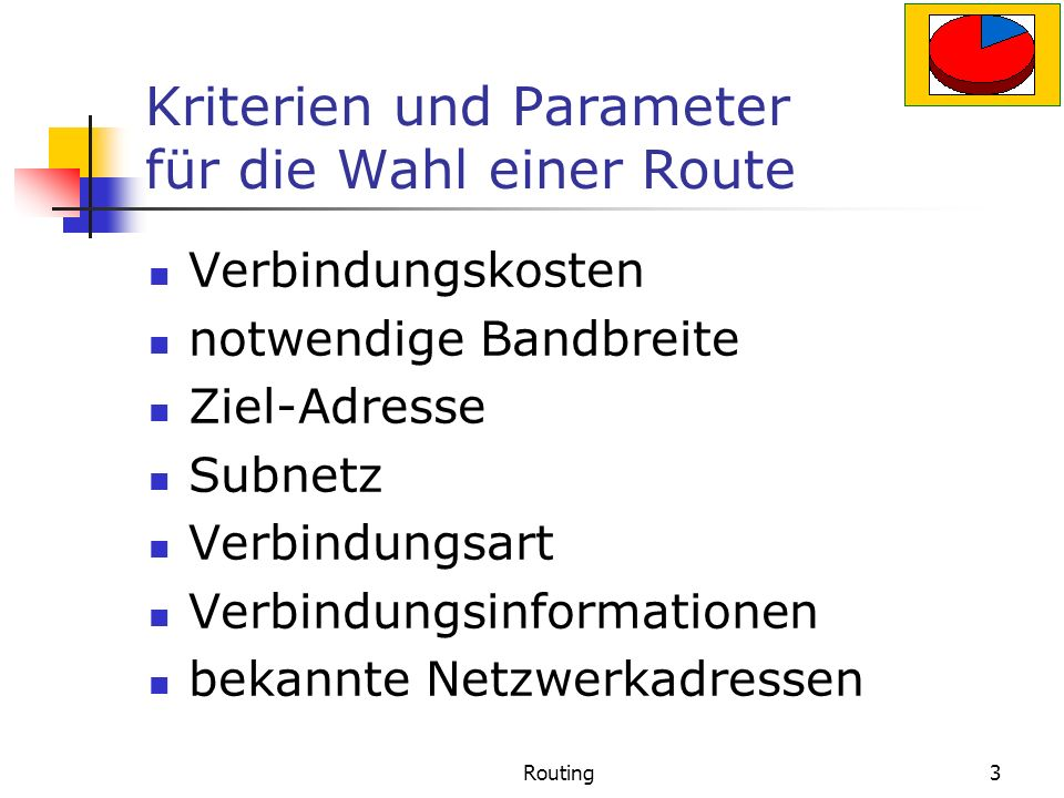 Kriterien und Parameter für die Wahl einer Route