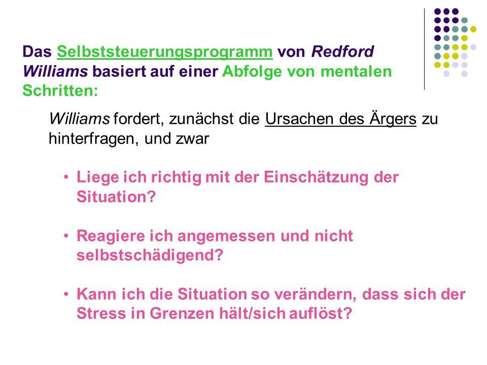 Das Selbststeuerungsprogramm von Redford Williams basiert auf einer Abfolge von mentalen Schritten: