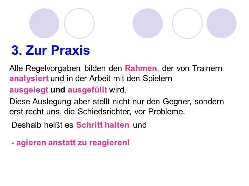3. Zur PraxisAlle Regelvorgaben bilden den Rahmen, der von Trainern analysiert und in der Arbeit mit den Spielern.