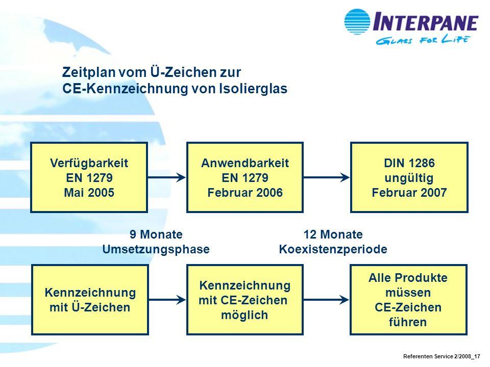 Zeitplan vom Ü-Zeichen zur CE-Kennzeichnung von Isolierglas