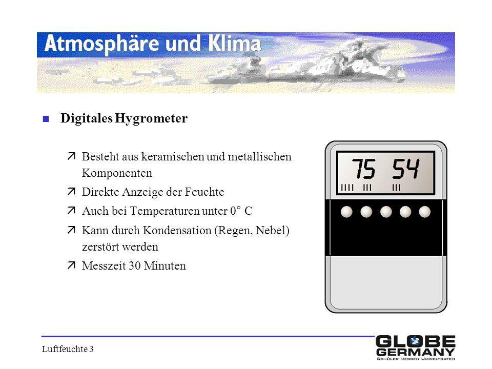 Digitales Hygrometer Besteht aus keramischen und metallischen Komponenten. Direkte Anzeige der Feuchte.