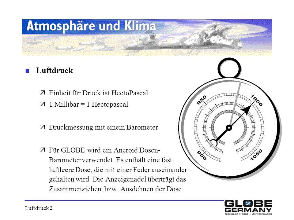 Luftdruck Einheit für Druck ist HectoPascal 1 Millibar = 1 Hectopascal