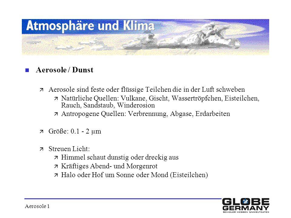 Aerosole / Dunst Aerosole sind feste oder flüssige Teilchen die in der Luft schweben.