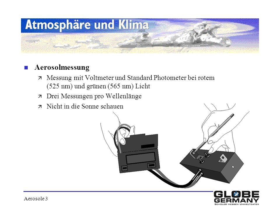 Aerosolmessung Messung mit Voltmeter und Standard Photometer bei rotem (525 nm) und grünen (565 nm) Licht.