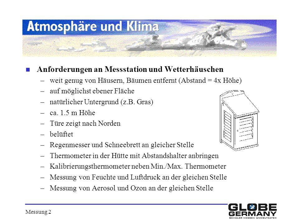 Anforderungen an Messstation und Wetterhäuschen
