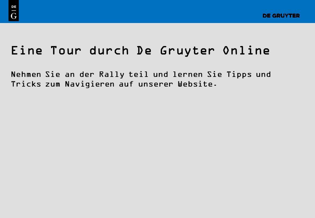 Eine Tour durch De Gruyter Online