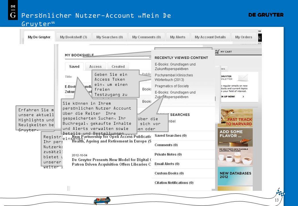 """Persönlicher Nutzer-Account """"Mein De Gruyter"""