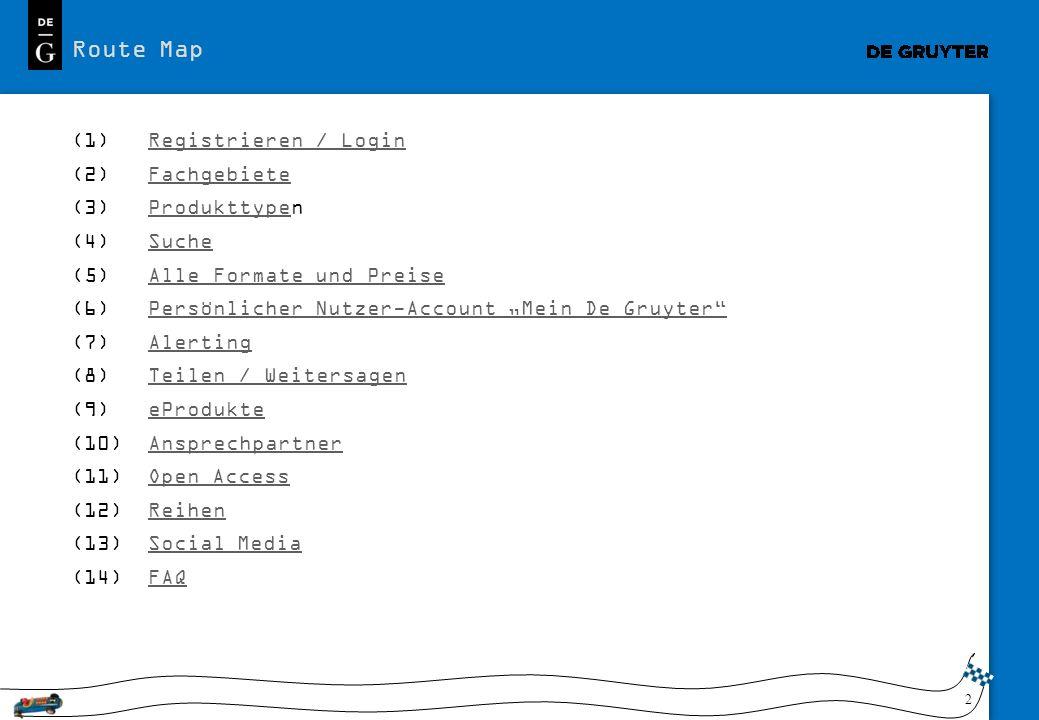Route Map Registrieren / Login Fachgebiete Produkttypen Suche