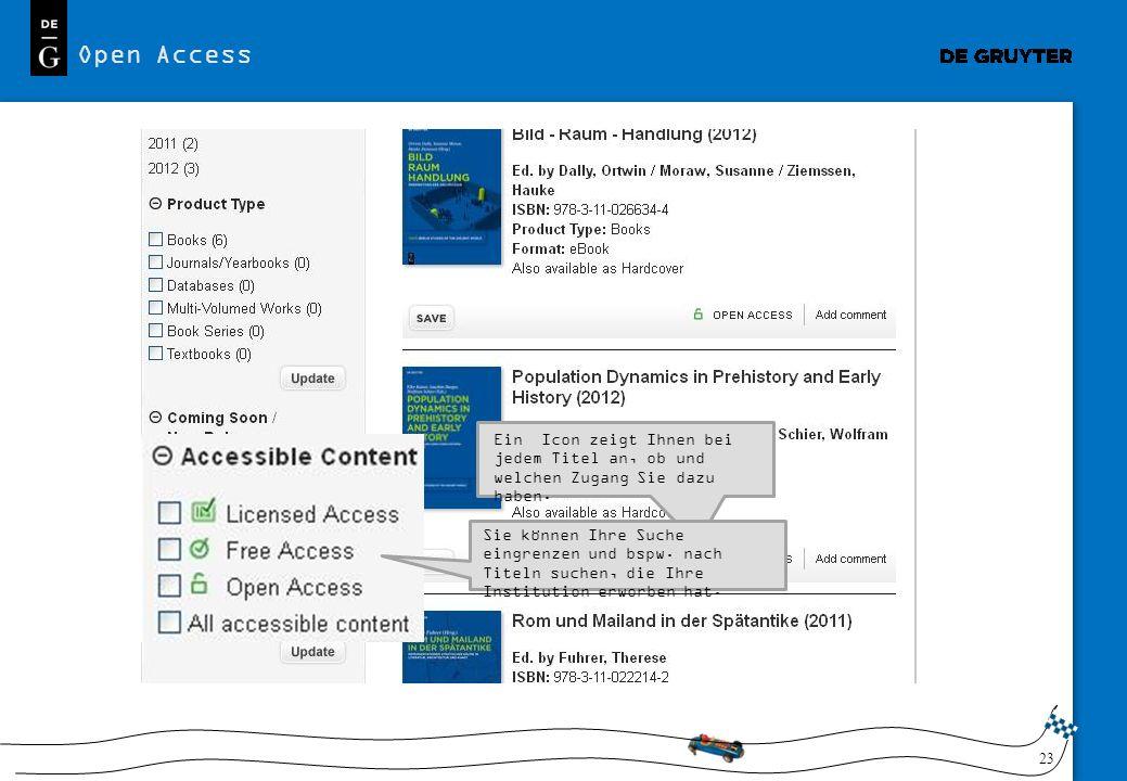 Open Access Ein Icon zeigt Ihnen bei jedem Titel an, ob und welchen Zugang Sie dazu haben.
