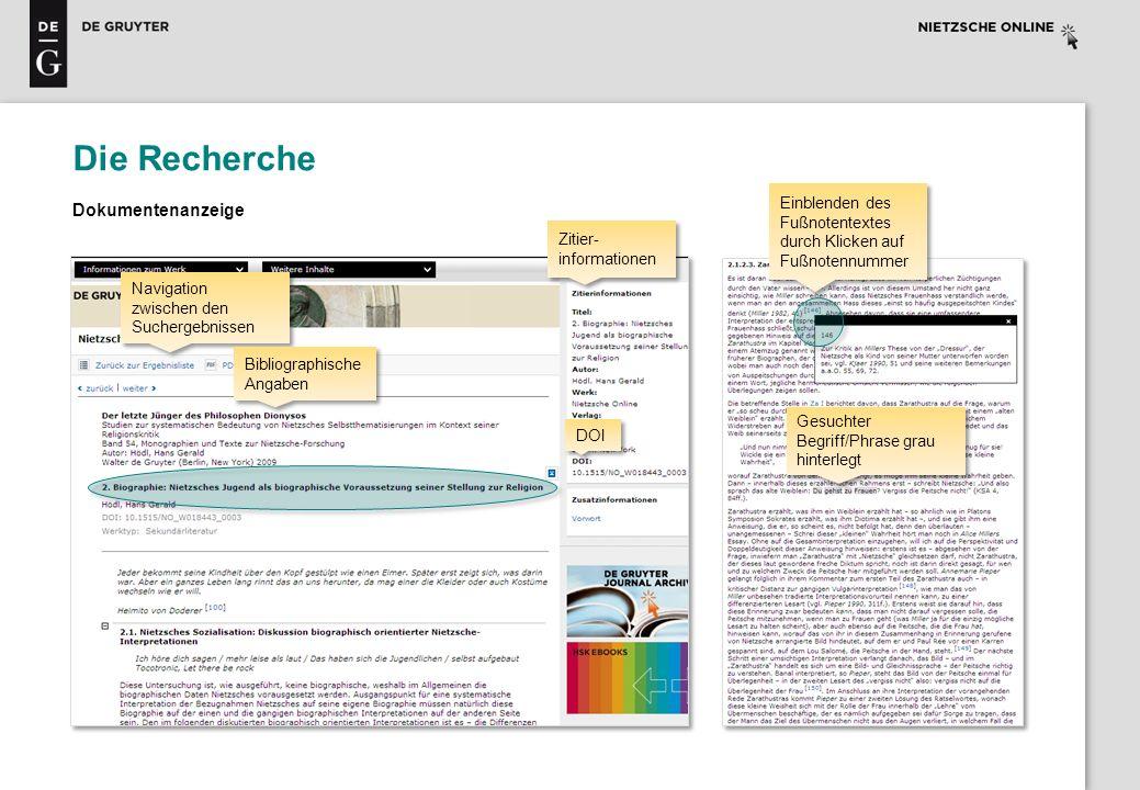 Die Recherche Dokumentenanzeige